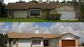 Exterior Home Makeover - Paint & Faux Finish Doors to Look like Wood.