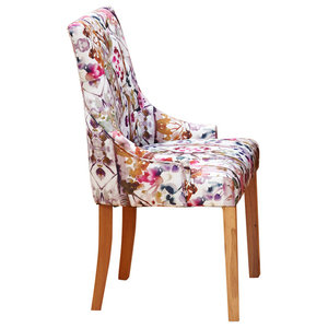 Oak Upholstered Dining Chair, Multicoloured, Accent, Set of 2