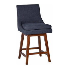 Transitional Counter Stool, Hardwood Frame With Cotton Seat, Blue