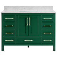 "Kendall Emerald Green Bathroom Vanity, 48"", Vanity With Carrara Marble Top"