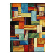 Cerise Contemporary Abstract Multi-Color Rectangle Area Rug, 5' x 7'