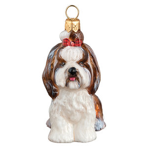 Shih Tzu Sitting With Top Knot, Brown And White Ornament