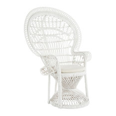 KOUBOO - Grand Peacock Chair in Rattan with Seat Cushion, White - Armchairs and Accent Chairs
