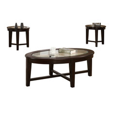 Coaster 3-Piece Occasional Table Set With Tempered Glass Insert by Coaster Home Furnishings