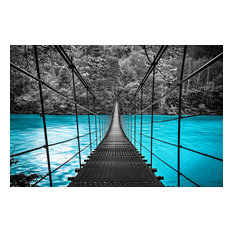 Bridge Painting in Blue and Black