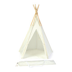 5' Teepee With Carry Case, Customizable Canvas Fabric, White