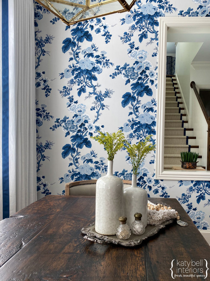 Mixed blue floral wallpaper, Leading Edge Ribbon Trim, Custom Drapery, Custom Se