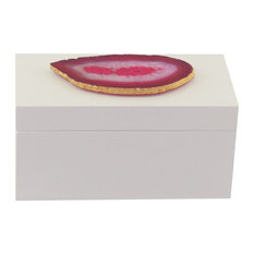 Grand Agate Lacquer Box, White and Pink