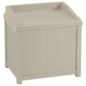 Contemporary Storage Seat Box in Taupe Finished Resin, Perfect for any Place