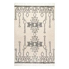 "Contemporary Moroccan Shag Tribal Tassel Area Rug, Off-White, 7'10""x10'"
