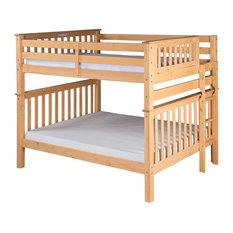 Santa Fe Mission Tall Bunk Bed Full Over Full, Bed End Ladder, Natural