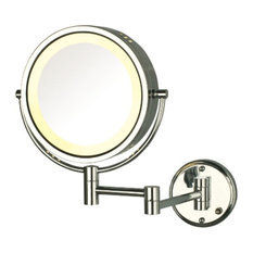 Jerdon HL75G 8.5-Inch Two-Sided Swivel Lighted Wall Mount Mirror w/ 8x Magnifica