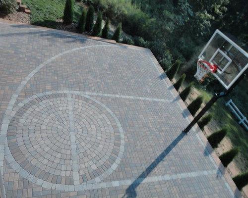 outdoor basketball court template - paver basketball court houzz