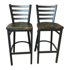 "Reclaimed 30"" Bar Stool With Ladder Back, Set of 2, Clear Coat"