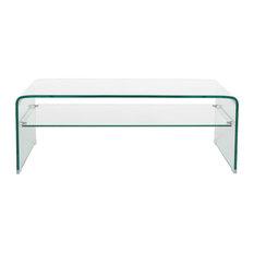 GDF Studio Classon Glass Rectangle Coffee Table With Shelf