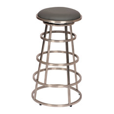 Ringo Backless PU Stool, Seat: Gray, Bar Height, Brushed Stainless Steel