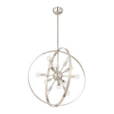 Marly 12 Light Chandelier, Polished Nickel