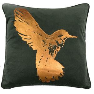 Hummingbird Bronze Metallic Cushion