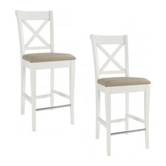 Hampstead 2-Tone Painted Ivory Leather Bar Stools, Set of 2