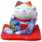 Blancho Bedding - Japanese Style Lucky Cat Figurine Lucky Fortune Cat, 19 - Ships from Hong Kong. Creative and unique gift idea for for Business Opening, Feng Shui Decor Attract Wealth and Good Luck. NOTE: Because of different factory production batch, the color and pattern may be slightly different from the picture, Hope get your kindly understanding. Small size, Height: approx. 7 cm/2.76 inches, width: approx. 6 cm/2.4 inches Material: plaster + cloth Japanese style fortune lucky cat, symbol of good luck Creative and unique gift idea for Business Opening,Feng Shui Decor Attract Wealth and Good Luck Display it in Your Home to welcome wealth
