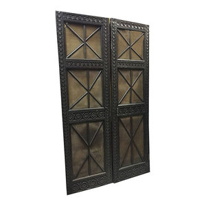 Mogulinterior.com - Consigned Antique Indian Screen Doors Floral Hand-Carved Panel - Interior Doors