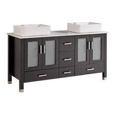"""60"""" Belvedere Freestanding Espresso Double Vessel Sink Vanity"""