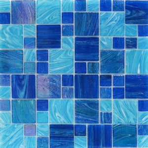 Aquatic Ocean Blue French Pattern Glass Tile Sample Contemporary Mosaic Tile By Tile Bar