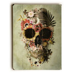"""Artehouse - """"Garden Skull Light"""", Multi Planked Wood Wall Decor By Ali Gulec, 18""""x24"""" - Artehouse wood signs add a touch of character to any room. Great for the cabin, beach house, winter chalet, kids room, game room, garage, kitchen or any room. Perfect as gifts to visitors or as a memento of places seen and loved. The sign comes ready to put on your wall with a saw tooth hanger. The sign is hand distressed to add to the vintage appeal. The image is printed directly unto the wood in a UV based archival quality ink to ensure fade resistance and last a lifetime."""