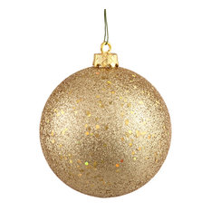 """Vickerman 4"""" Sequin Ball Drilled, Set of 6, Gold"""