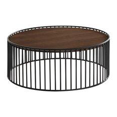 Modrest Bronson Modern Walnut and Black Round Coffee Table