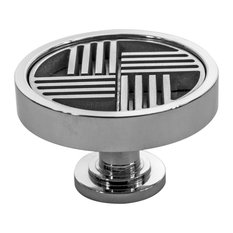 Parquet Cabinet Knob, Made in the USA, Polished Stainless Steel
