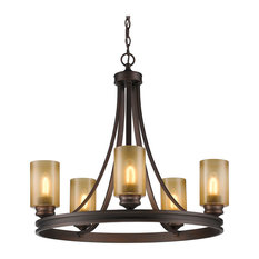 Hidalgo 5-Light Chandelier, Sovereign Bronze With Regal Glass