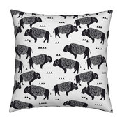 Buffalo Black And White Tribal Native West Throw Pillow Cover Linen Cotton