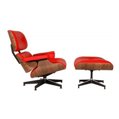 2-Piece Mid-Century Plywood Lounge Chair and Ottoman Set, Red/Walnut