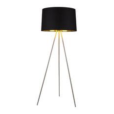 Weegee Floor Lamp In Brushed Nickel Finish With Metallic Black & Gold Shade