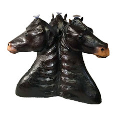 Three Horse Sculpture Coffee Table Leather Covered Paper Mache