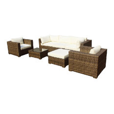 MangoHome - Outdoor Patio Furniture Wicker Sofa Sectional, 7-Piece Set - Outdoor Lounge Sets