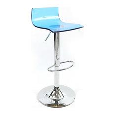 Wye Transparent Acrylic Adjustable Breakfast Bar Stool, Chrome, Blue