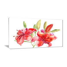"""Lily Flowers Illustration"" Floral Canvas Print, 32""x16"""