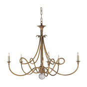 Studio Twist 5-Light Chandelier, Hand-Rubbed Antique Brass