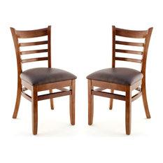 US Made Ladder Back Chair Set Of 2 Walnut Buckskin Vinyl Seat