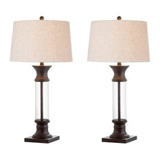 """Hunter 32"""" Metal and Glass Table Lamp, Set of 2, Bronze, Clear"""