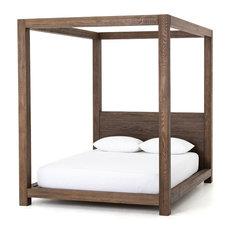 "World Bazaar Exotics - 89.5"" Macario Canopy Bed Oak Shale Grey On Veneer Modern Artisan Design - Canopy Beds"