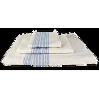 Kontex-Flax Line Organic Towels, Ivory/Blue, Hand Towel
