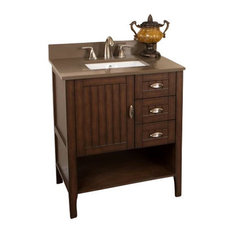 "30"", Single Sink Vanity, Sable Walnut With Quartz Top, Cream, Walnut and Taupe T"