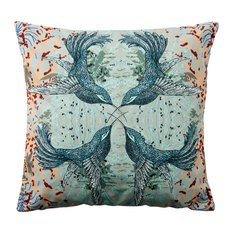 Paradise Velvet Cushion, Symmetrical Birds