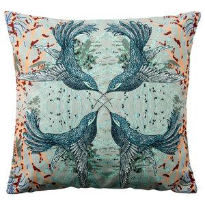 Paradise Velvet Cushion, Symmetrical Birds