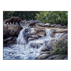 Tile Mural, Grizzly Family by Jeff Tift