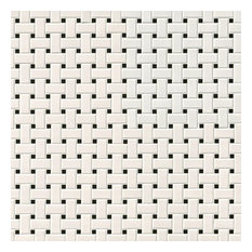 "Domino White and Black Matte Basket Weave Mosaic, 12""x12"", Set of 10"