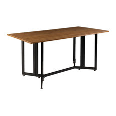 Southern Enterprises   Drop Leaf Table, Dark Tobacco And Black   Dining  Tables